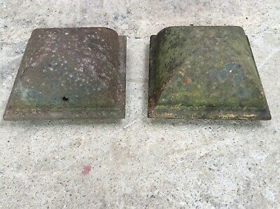 Pair Reclaimed Old Heavy Cast Iron Domed Gate Post Tops 27cm Square
