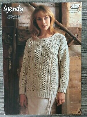 "Wendy Knitting Pattern 5712 Lacy Batwing Sweater 30-44/"" Cotton Chunky Ladies"