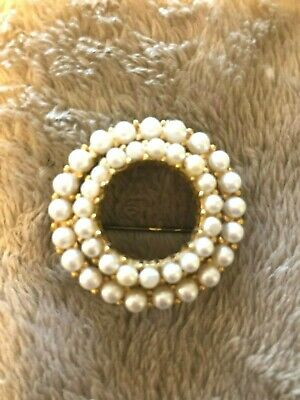 Vintage Unsigned Gold-Tone Brooch With Two Attached Circles Of Faux Pearls