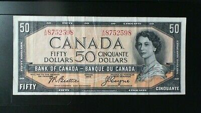 1954 Bank Of Canada  ($50.00 ) Fifty  Dollar Banknote  Beattie Coyne