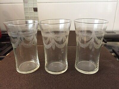 Trio Of Art Deco Swag Etched Tumblers