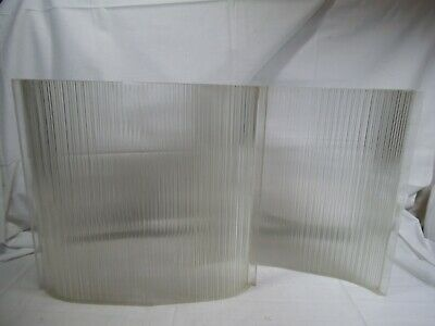 """Vtg 1943 Holophane Glass 12""""x13"""" Curved Sheet-Lamp Shade-Steampunk Industrial-ia"""