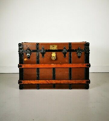 Vintage Retro Late 19th Century Oak Banded Storage Travel Trunk / Chest