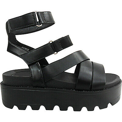 Womens Ladies Low Wedge Platforms Flatforms Touch Straps Shoes Sandals Size