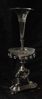 James Deakin & Sons Sheffield Silver Plated Epergne, 1871-1898, Glass Flute Top