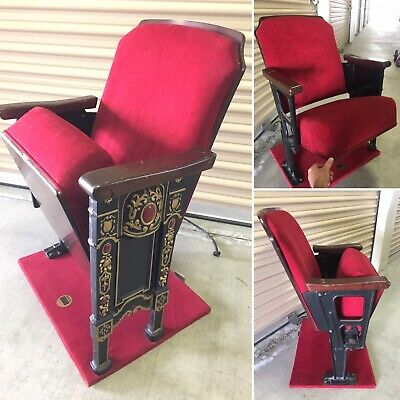 Vintage Theatre Seat Grenada Theater Antique Carved Wood End Seat Velvet