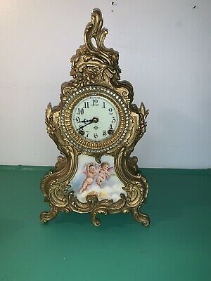 Antique Brass Ansonia Rococo Painted Porcelain Rhinestone Mantle Clock 1900s?