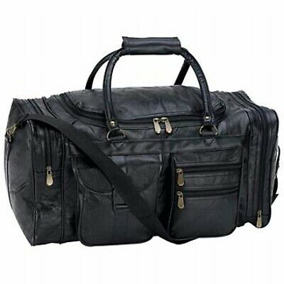 Travel Carry On Luggage Bag Duffel Tote Mens Black Leather Gym Sport Overnight