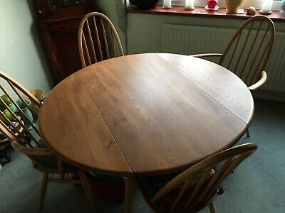 Original Ercol Solid Elm Drop Leaf Table Round, Oval, Dinning