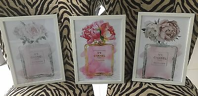 "Set Of Three Framed Photos ""Flower Chanel PerFume Bottles ' A4 In White Frames"