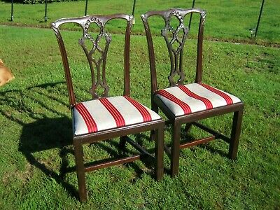 Mahogany Chippendale Style Dining Chairs Regency Stripe Drop-in Seats - A Pair