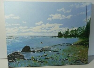 "Oil Painting On Canvas 18"" x 14"" x 1"" Titled ""Northern Shore"" Northern Ontario"
