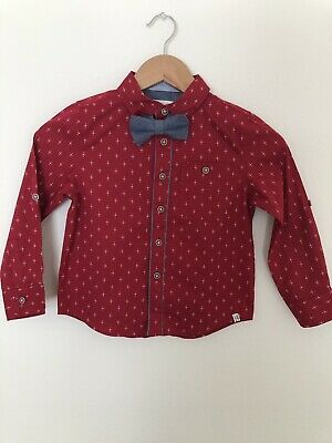 SOVEREIGN CODE Little Boys Long Sleeve Red Dress Shirt With Bow Size 4