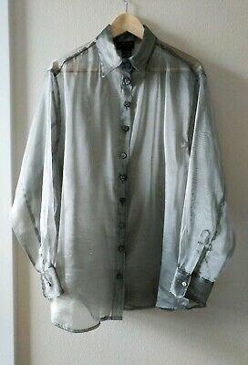 c6bd6bc5ac14f9 Vintage 90s Sheer L Silver Mesh Button Blouse Shirt Metallic Oversize  Limited