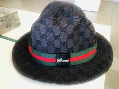 779fc280 GUCCI FEDORA GG Authentic Bucket Hat Cap Womens Black Canvas with Leather  Buckle