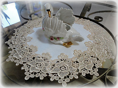 "16"" Rose Lace Soft Gold & Ivory Doily Vintage Design"