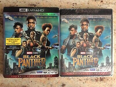 Marvel Black Panther 4K Ultra Hd + Slipcover Sleeve, Excellent Condition
