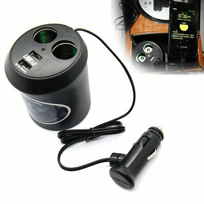 2 Way Multi Car Cigarette Lighter Socket Splitter Dual USB Charger Power Adapter