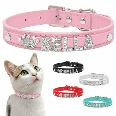 Bling Leather Personalised Rhinestone Letter Name Charm Pet Cat Dog Collar S M L