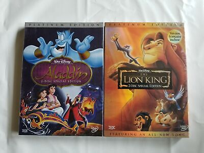 The Lion King DVD + Aladdin Platinum ED. 2 Disc Set New & Sealed with Slipcover