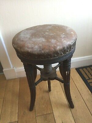 Victorian Mahogany Revolving Corkscrew/Adjustable Piano Stool C1880