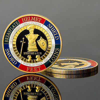 ITS- Fashion Embossing Armor of God Soldier Round Commemorative Coin Souvenir Gi