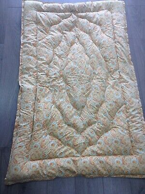 vintage paisley pair of matching feather eiderdown quilts pale orange good cond