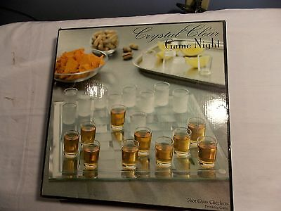 Crystal Clear Game Night Shot Glass Checkers Chess Bar Game Set Tailgate Party