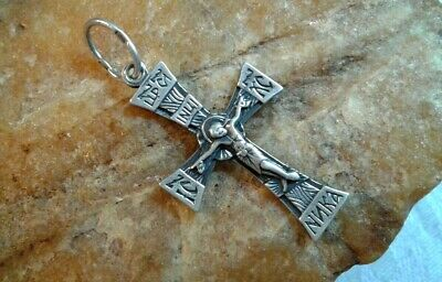 "Vintage Sterling Silver ""925"" Orthodox ""Footed"" Cross Crucifix ""Save & Protect"""