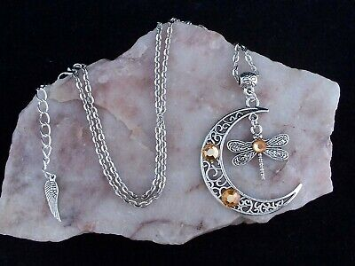 Tibetan Silver Crescent Moon & Dragonfly With Amber Glass Diamante, Necklace.