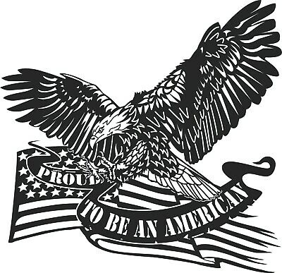 DXF CDR File For CNC Plasma or Laser Cut Clipart Graphic ART - USA Flag Eagle