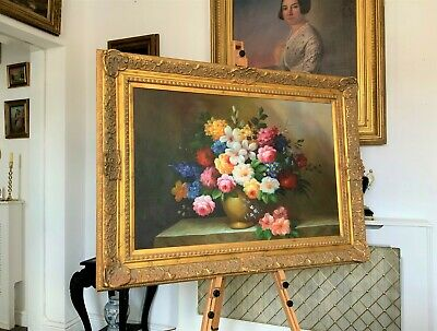 STUNNING LARGE ORIGINAL 18thc ANTIQUE STYLE FLORAL STILL LIFE OIL PAINTING