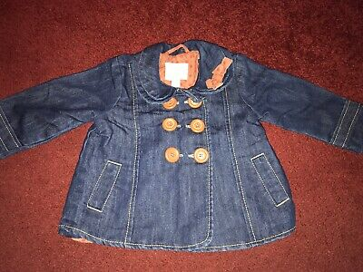 Beautiful Girls Next Lined Denim Jacket 9-12 Months With Brown Buttons And Bow