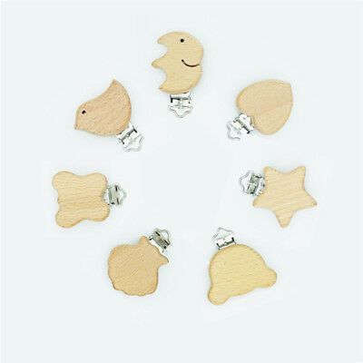 Soother Teething Dummy Nipple Holder Wooden Suspender Clips Baby Pacifier Toy CS