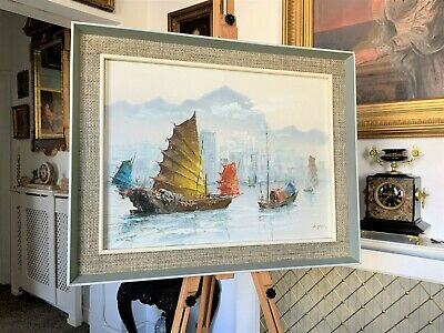 Beautiful Original Signed Vintage Oriental Seascape Oil On Canvas Painting C1960