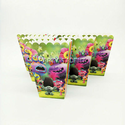 6pcs/lot Popcorn Box for Kids Children Trolls Baby Theme Birthday Party