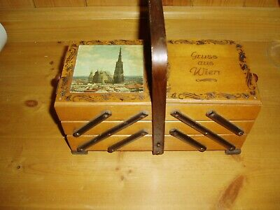 Lovely Viennese Music Box In Form Of Cantilever Sewing Box - Reuge