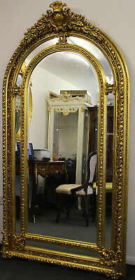Antique Vintage Style Large Louis Carved Gold French Rococo Mirror Beveled C376