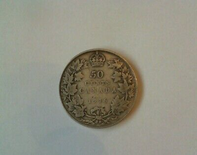 1916 Canada Silver  50 Cent Coin  King George V