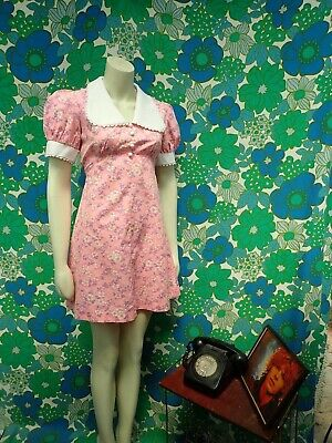C51 Vintage 1960's Mini Dress 10 Pink Cotton Floral GoGo Mod