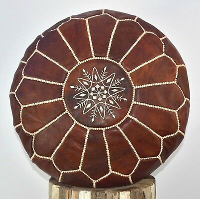 100% Organic Leather Chestnut Brown Moroccan Pouffe Footstool Beanbag Ottoman