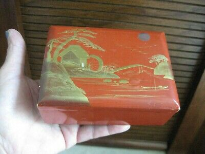 """Japanese Lacquer ware Hinged Lidded Box Vtg Wood 4 3/4"""" x 3 1/2"""" x 2"""" tall"""