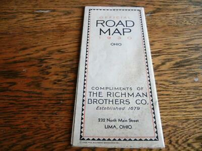 Official 193O Ohio Road Map Compliments Of The Richman Brothers Co.lima, Ohio