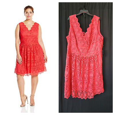 NWT- Adrianna Papell Womens Plus Sz 24W fit & flare crochet lace coral dress
