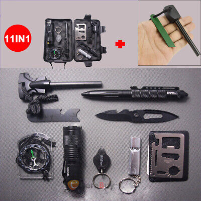 11 in 1 EDC Outdoor Camping Military Survival Gear Kits Box Emergency Kit Tool