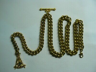 Lovely vintage gold plated Albert pocket watch chain with gold plate Masonic fob