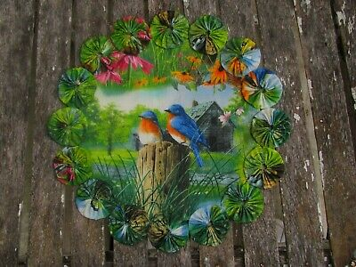Blue Birds Barn Flowers YoYo Candle Mat Doily Table Topper Penny Rug Style HC