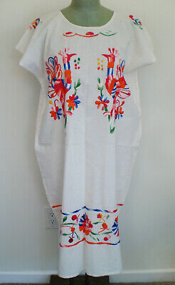 Ethnic Vintage Mexican WHITE COTTON HAND EMBROIDERED Long DRESS Peacock BIRDS