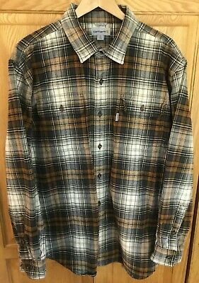 Carhartt Men/'s S16 Navy Red Plaid L//S Flannel Shirt XL-3XL Retail $45
