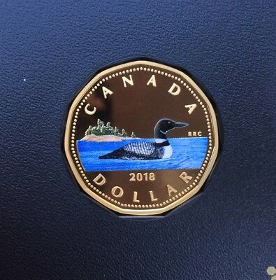 2018 Canada colourized Loonie pure silver - from proof set - coin only IN STOCK